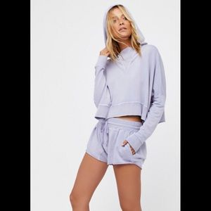 FREE PEOPLE Morning Run Hoody Shorts Sweatsuit Set